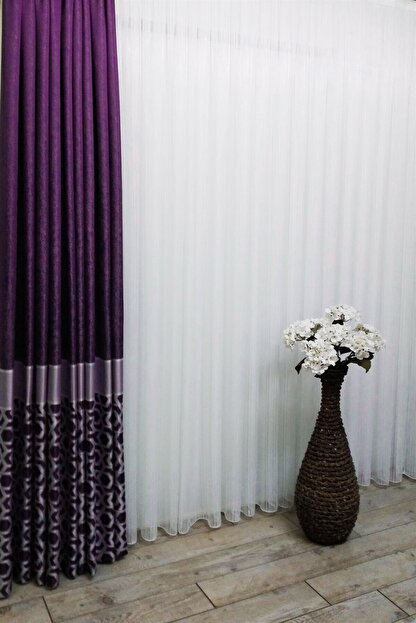 Evdepo Home Hazır Ekstraforlu Krem Çizgili Pilesiz Tül 90 X 270