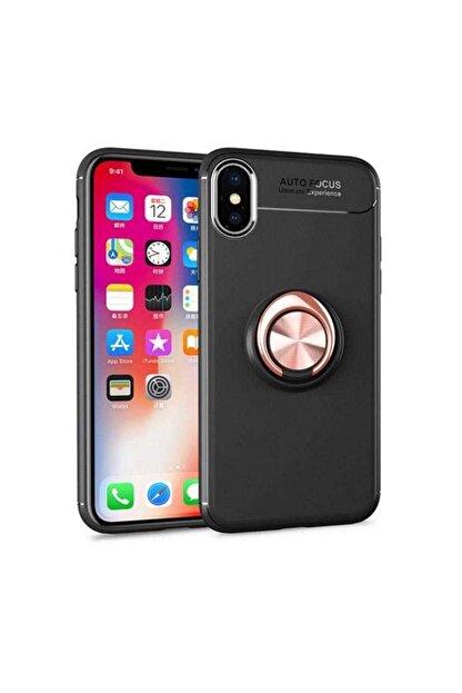 ACK Iphone X - Xs 5.8 Kılıf Yüzüklü Standlı Mıknatıslı Silikon Rosegold+nano Cam