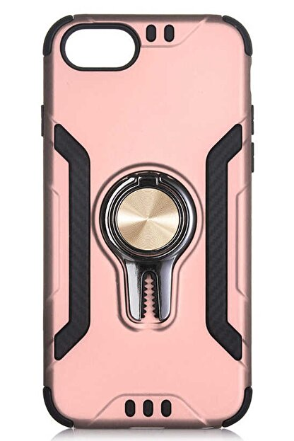 Coverzone Iphone 8 Kılıf Kılıf Shockproof Yüzük Tutuculu Saw Rose Gold