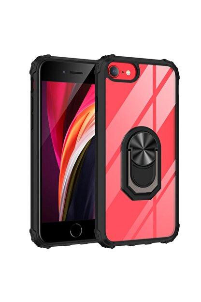 Happyshop Apple Iphone 8 Kılıf Renkli Kenarli Şeffaf Yüzüklü Manyetik Mola Kapak+nano Cam Ekran Koruyucu