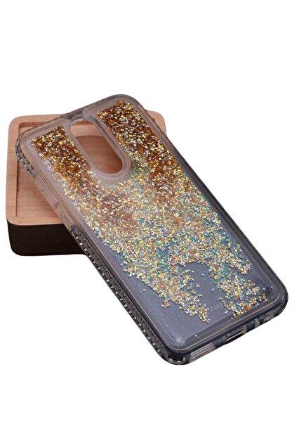 Elfia Huawei Mate 10 Lite Kılıf Taşlı Sıvılı Tarz Silikon Koruma