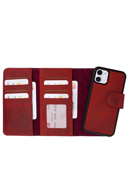 Plm Iphone 11 Santa Mw Deri Kırmızı Telefon Kılıfı