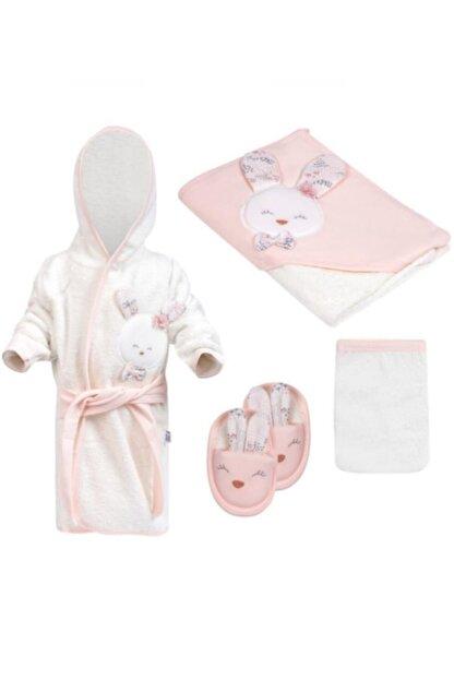 Gaye Kız Bebek Havlu Bornoz Seti 826 Somon - Bebek Hediyesi