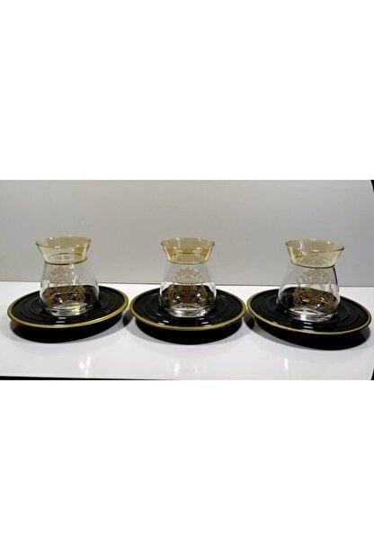 Glass Art 12 Parça Gold Yaldızlı Desenli Çay Seti