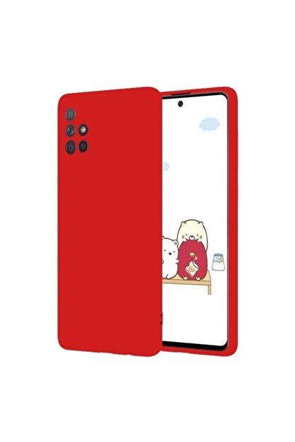 Samsung Teleplus Galaxy M51 Kılıf Mat Kamera Korumalı Silikon Kırmızı