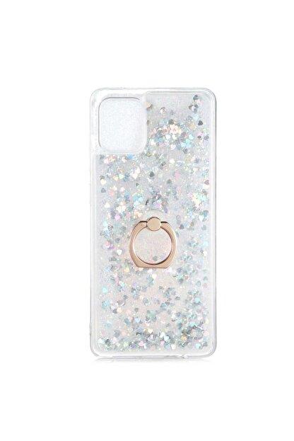 Samsung Teleplus Galaxy A31 Kılıf Milce Yüzüklü Sulu Silikon Gümüş