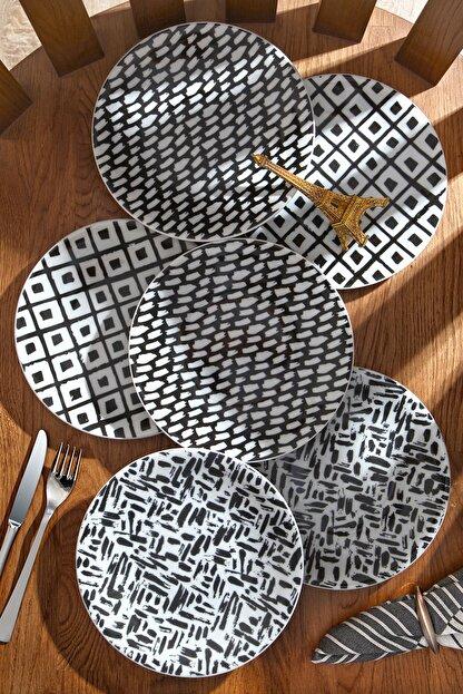 Kitchen Life 6'lı Özel Tasarım Handmade 21cm Pasta Tabak Seti - Porselen - Pastel Serisi