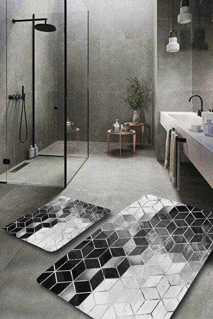 EVİMOD Silver Modern Yıkanabilir 2li Banyo Halısı Paspas Klozet Takımı X
