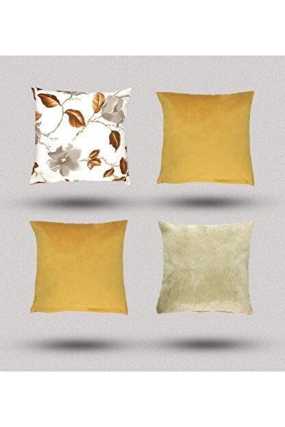 Markimo Home Hardal Sarı Çiçekli Kombin Kırlent Yastık Minder Kılıfı 4 Adet 45x45cm