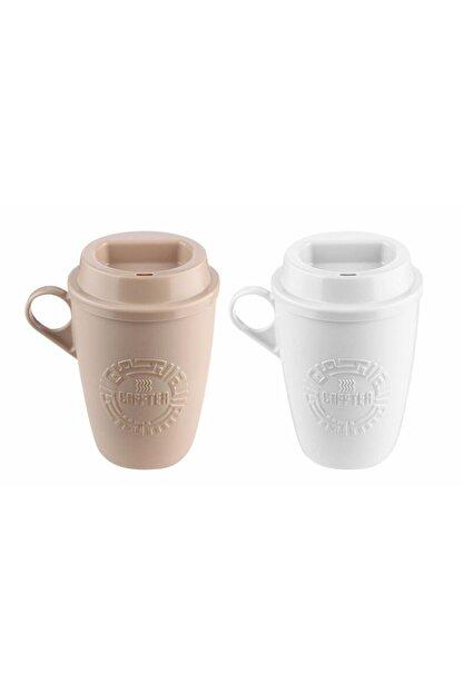 KRD Home Krem ve Beyaz  Kahve Bardağı 2'li