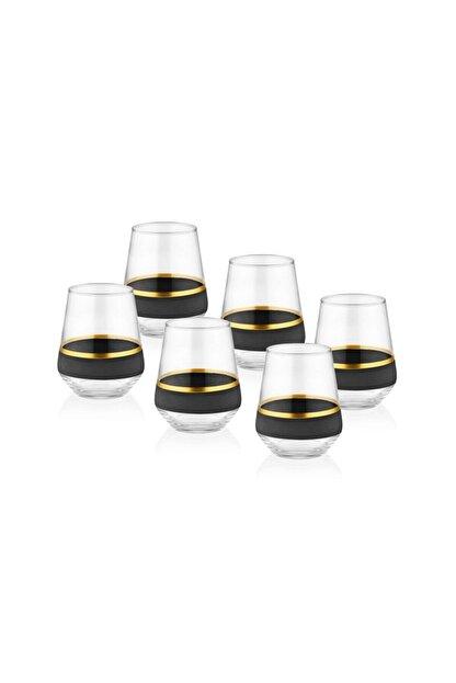 The Mia Glow Su Bardağı 6'lıı Set - Siyah & Gold