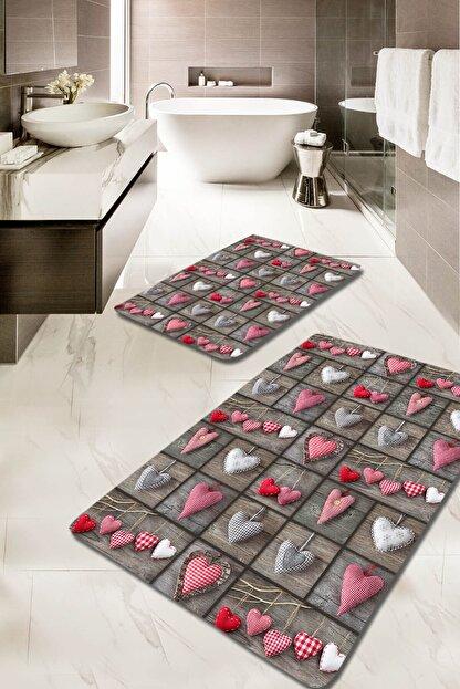 EVİMOD Love Kırmızı Beyaz Gri Kalpli 2li Yıkanabilir Klozet Takımı Banyo Halısı Paspas