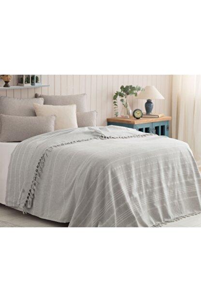 Madame Coco Alegron King Size Yıkamalı Yatak Örtüsü - Gri / Beyaz