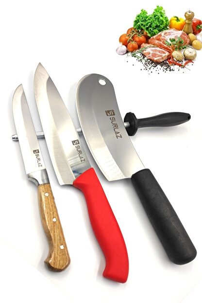 SürLaz Bıçak Seti Mutfak Bıçağı Şef Bıçağı Soğan Satırı 4 Parça