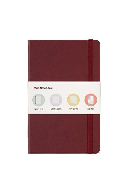 Matt Notebook 13x21 Lastikli Defter Noktalı Bordo