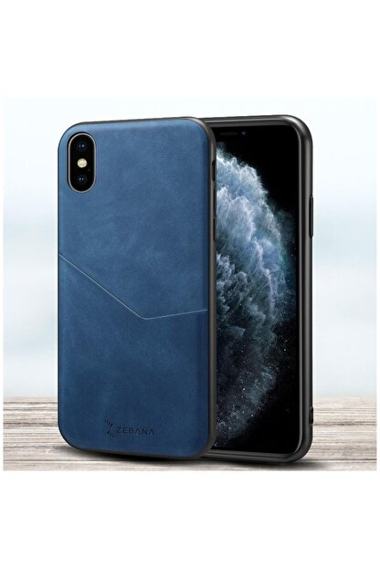 Dara Aksesuar Apple Iphone Xs Max Kılıf Zebana Cepli Nubuk Kılıf Mavi