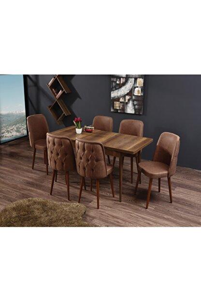 Ervo Venüs Premier Yemek Masa Takımı 6 Sandalyeli – Kahverengi