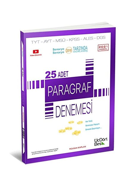 Üç Dört Beş Yayıncılık 25 Adet Paragraf Denemesi 2021 Model