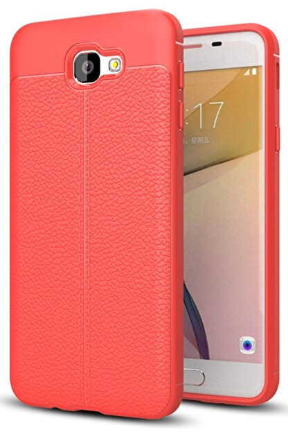 Samsung Galaxy J7 Prime Uyumlu  Kılıf Deri Görünüm Sert Karbon Kapak