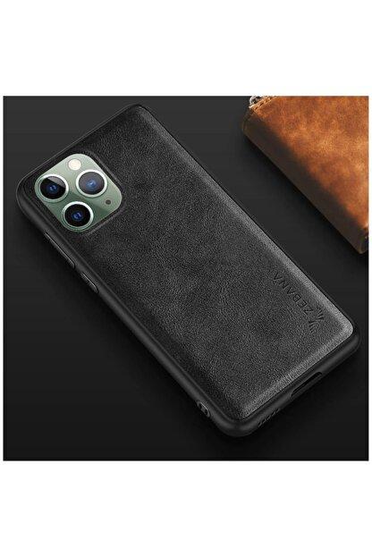 Dara Aksesuar Apple Iphone 11 Pro Max Kılıf Zebana Lüx Deri Kılıf Siyah