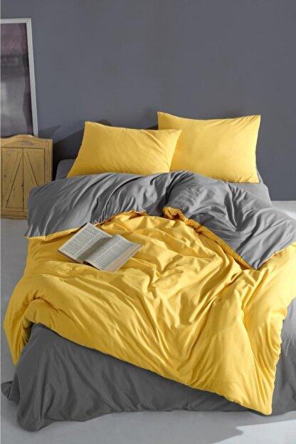 LadyModa Yellow&grey Çift Kişilik %100 Pamuk Nevresim Takımı