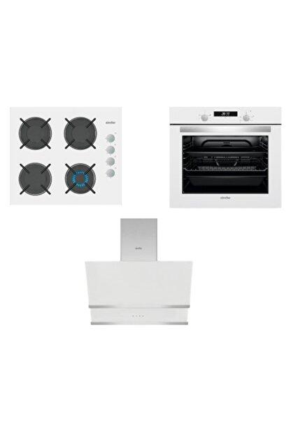 Simfer Kardelen Beyaz Dijital Ankastre Cam Set (3507 - 8668 - 7340)