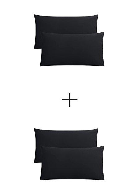 StellaFlavo Stella Flavo 4'lü Yastık Kılıfı 50x70+20cm Kapaklı Siyah-siyah