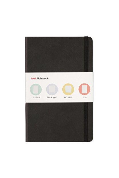 Matt Notebook 13x21 Lastikli Defter Düz Siyah