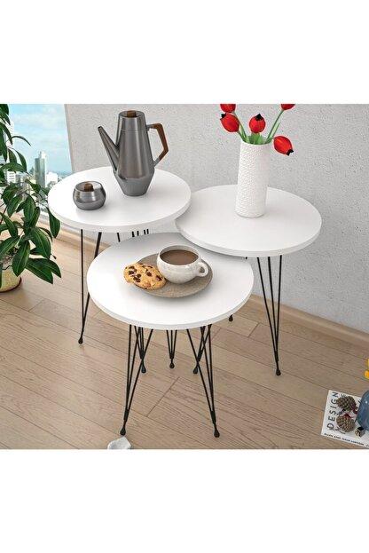 Haus Modüler Zigon Sehpa Metal Ayak 3lü Servis Sehpası Oval Beyaz