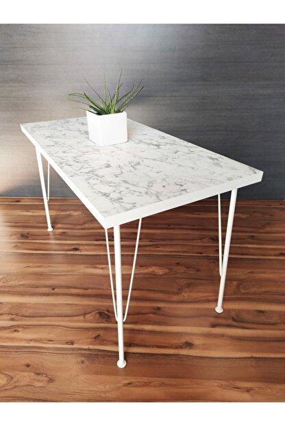 Sedef Beyaz Mermer Desenli Metal Beyaz Ayaklı Mutfak Masası 60x120