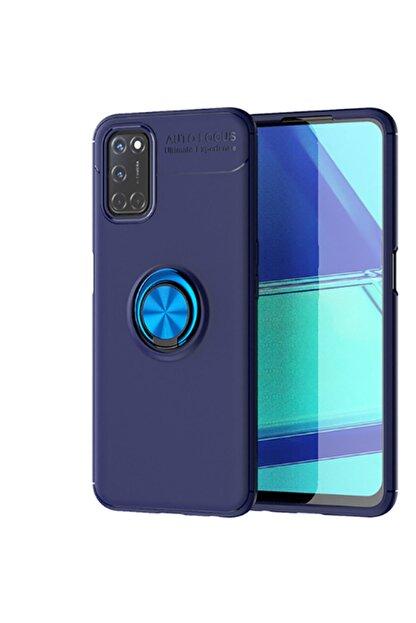 Teknoloji Adım A52 Uyumlu Yüzüklü Silikon Kılıf Mavi