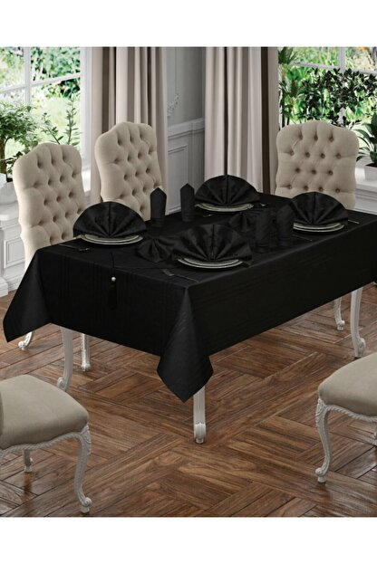 SAFİR Siyah Masa Örtüsü Seti 12 Kişilik 26 Parça