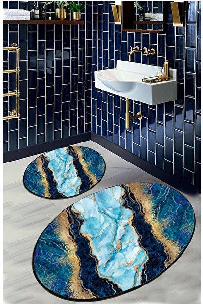 EVİMOD Mavi Gold Turkuaz Mermer Modern Yıkanabilir 2li Banyo Halısı Paspas 25002x