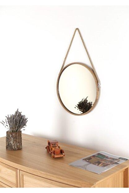 Fold&Go Capella Ayna - Halat Askılı Ayna - Dekoratif Ayna - Yuvarlak Ayna - Ahşap Çerçeveli Ayna -gümüş Ayna