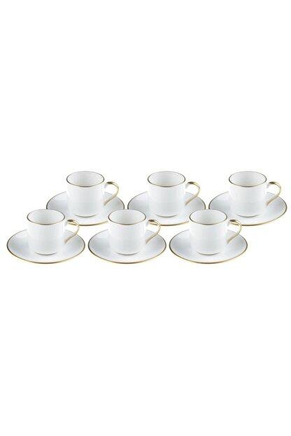 Bambum Beyaz Diva Altin Yaldizli Kahve Fincan Takımı
