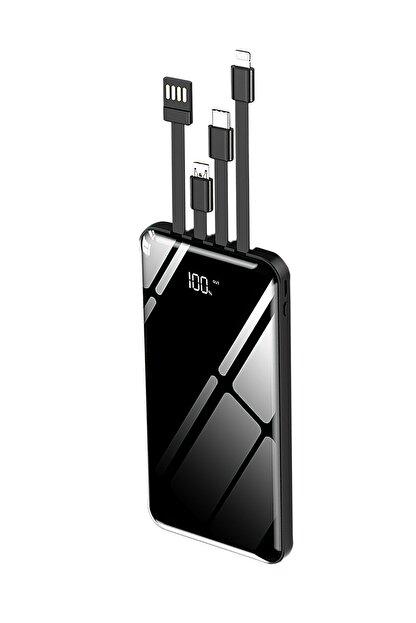 İntouch 10.000 Mah Prime Dijital Göstergeli Dahili Çoklu Kablolu Powerbank,siyah