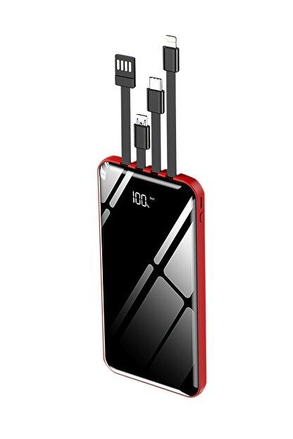 İntouch 10.000 Mah Prime Dijital Göstergeli Dahili Çoklu Kablolu Powerbank,kırmızı