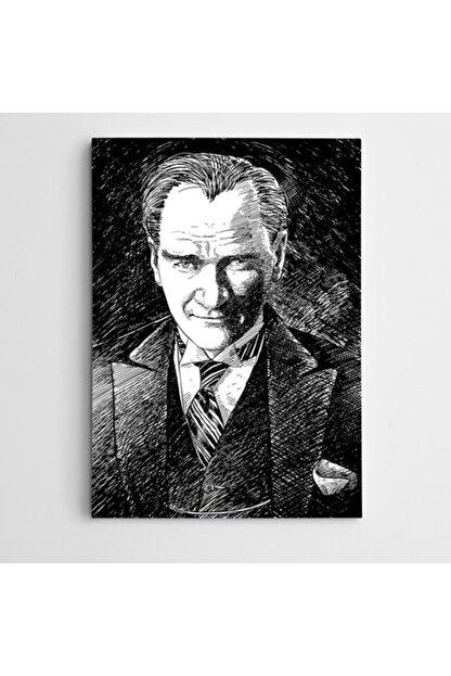 Dekolata Atatürk Çizim Siyah Beyaz Kanvas Tablo 100 X 140 cm