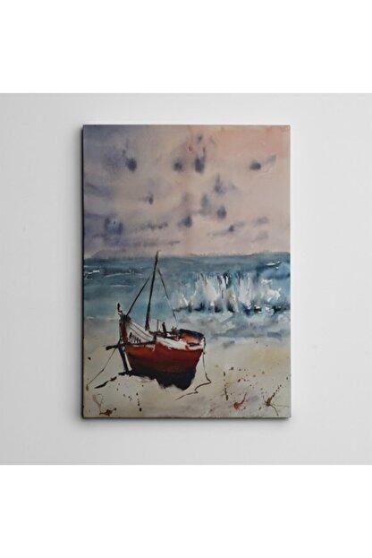 Dekolata Kıyıda Tekne Mini Kanvas Tablo 35 X 50 cm