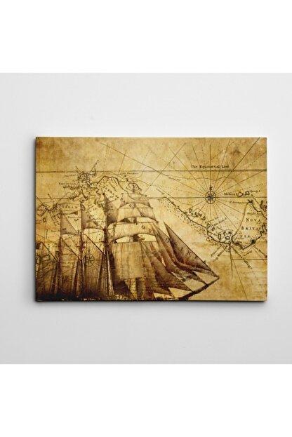 Dekolata Eski Harita Kanvas Tablo 20 X 30 cm