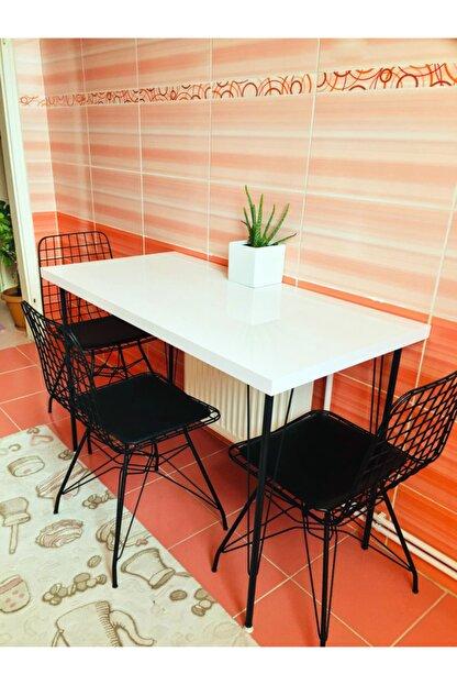 Yirmi15 Metal Ayaklı High Gloss Parlak Beyaz Dekoratif Mutfak Masası 60x120 cm