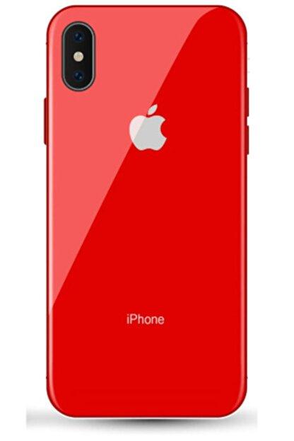 TrendShopping Apple Iphone Xs Max Lüx Cam Kılıf Yanları Silikon Dayanıklı Ve Şık Tasarımlı Kapak - Kırmızı