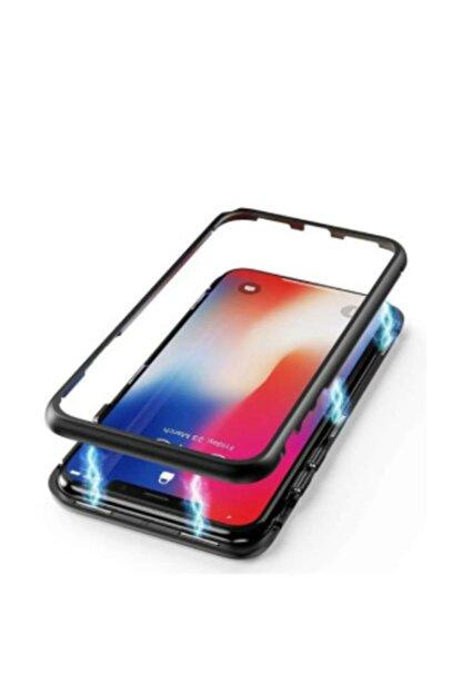 TrendShopping Samsung Galaxy Note 10 Plus Kılıf 360 Manyetik Bumper Mıknatıslı Arka Camlı Mıknatıslı Kapak - Siyah