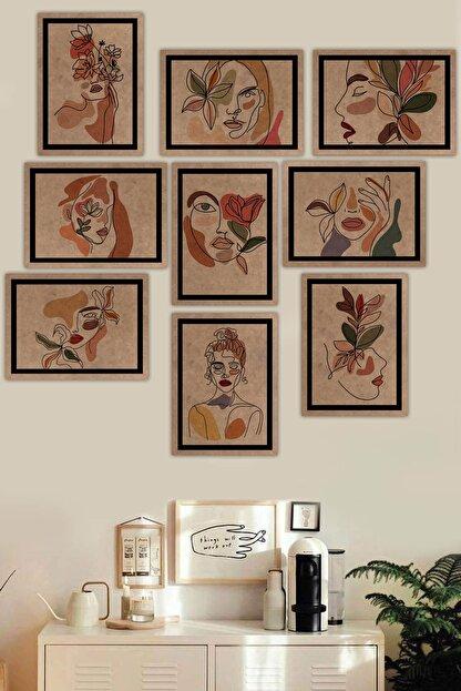 Kate Louise 9 Parça Çerçeve Görünümlü Mdf Tablo Seti (70x70 Cm)