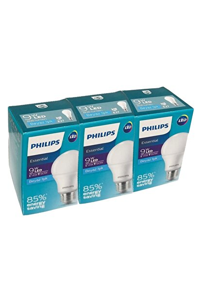 Philips Essential 9w-60w Beyaz Işık E27 Normal Duy 3'lü Paket Led Ampul