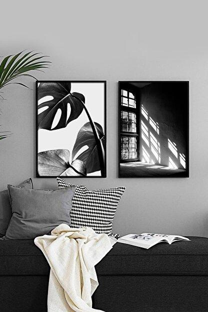 Pembe Atölye Siyah Beyaz Tablo Çerçeve 2li Set 33x43cm