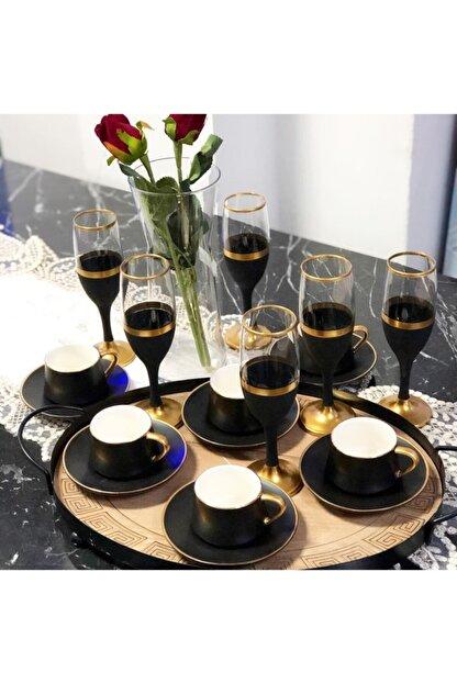 Paşabahçe El Dekorlu Siyah Gold Işlemeli 6 Kişilik Kahve Yanı Cam Su Bardağı Seti, Çeyizlik Set, Hediyelik Set