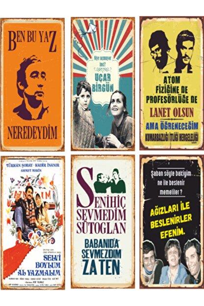 Hayat Poster Yeşilçam Türk Sineması 6lı Ahşap Poster Seti-1