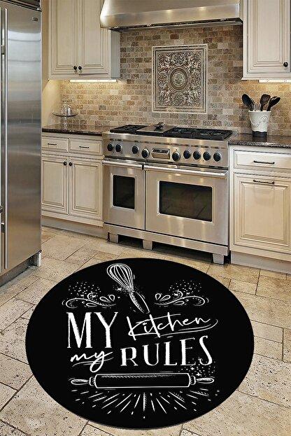 WOOLLY HOME COLLECTİON Siyah Kıtchen Desenli Yuvarlak Mutfak Halısı (Makinede Yıkanabilir Kaymaz Deri Taban -w0004-2)