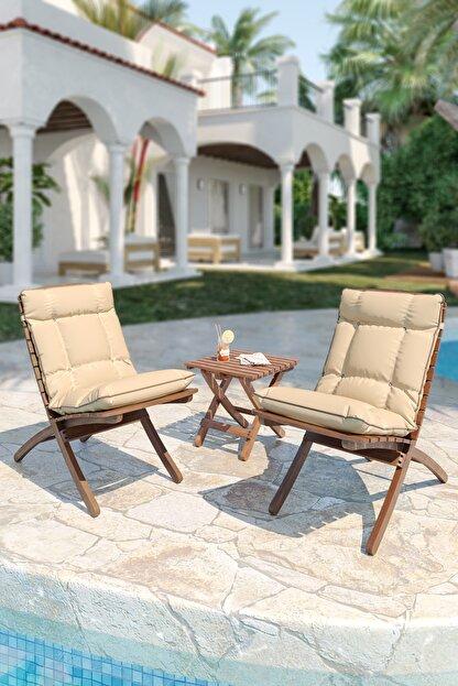 Meya Dekor Minderli Bahçe Balkon 2+1 Katlanabilir Masa Sandalye Seti